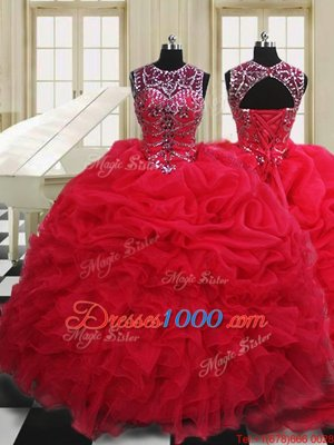 Red Quinceanera Dresses Military Ball and Sweet 16 and Quinceanera and For with Beading and Pick Ups Scoop Sleeveless Lace Up