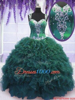 Modern Dark Green Ball Gowns Tulle Straps Sleeveless Beading and Ruffles Floor Length Zipper Quinceanera Gowns