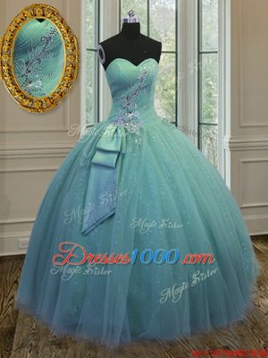 Spectacular Sleeveless Tulle Floor Length Lace Up Sweet 16 Dress in Yellow Green for with Beading
