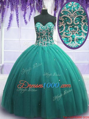 Vintage Floor Length Ball Gowns Sleeveless Turquoise Quince Ball Gowns Lace Up