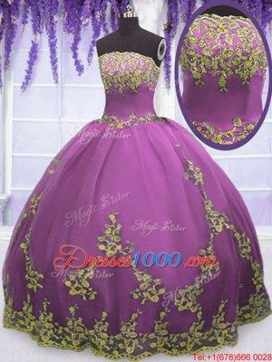Tulle Strapless Sleeveless Zipper Appliques Sweet 16 Dress in Fuchsia