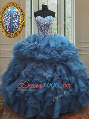 Latest Teal Sleeveless Organza Lace Up Ball Gown Prom Dress for Military Ball and Sweet 16 and Quinceanera