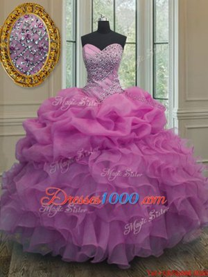 Decent Lilac Ball Gowns Organza Sweetheart Sleeveless Beading and Ruffles and Pick Ups Floor Length Lace Up Sweet 16 Quinceanera Dress