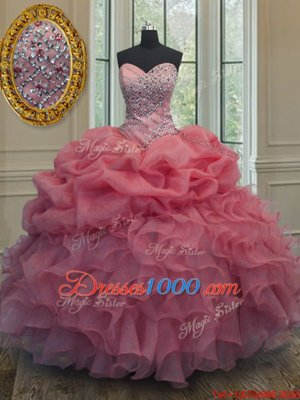 Sexy Organza Sleeveless Floor Length Sweet 16 Dresses and Beading and Ruffles and Pick Ups