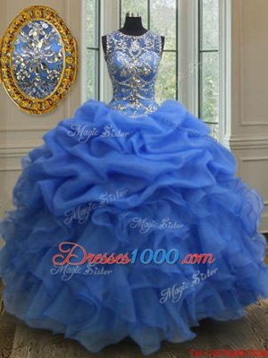 Traditional Pink Lace Up Scoop Beading and Ruffles Vestidos de Quinceanera Tulle Sleeveless