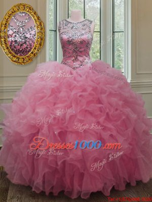 Scoop Beading and Ruffles Quince Ball Gowns Rose Pink Lace Up Sleeveless Floor Length