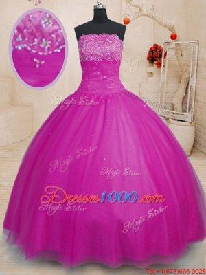 Graceful Strapless Sleeveless Sweet 16 Dress Floor Length Beading Fuchsia Tulle