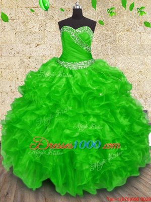 15 Quinceanera Dress Military Ball and Sweet 16 and Quinceanera and For with Beading and Appliques and Ruffles and Ruching Sweetheart Sleeveless Lace Up
