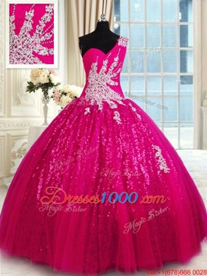 Deluxe One Shoulder Tulle and Sequined Sleeveless Floor Length Quinceanera Dress and Appliques