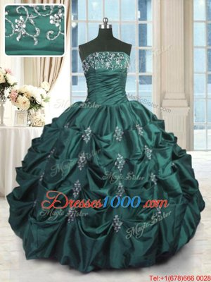 Free and Easy Pick Ups Floor Length Ball Gowns Sleeveless Peacock Green 15 Quinceanera Dress Lace Up