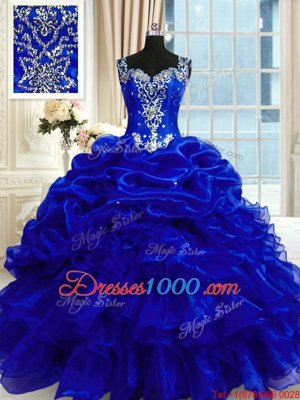 Designer Royal Blue Lace Up Straps Beading and Ruffles and Pick Ups Quinceanera Gowns Organza Sleeveless