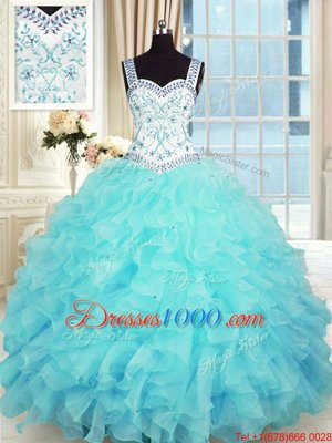 Floor Length Column/Sheath Sleeveless Aqua Blue Quinceanera Dress Lace Up