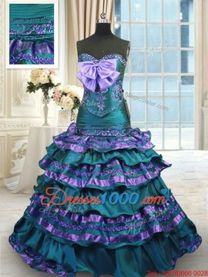 Peacock Green Quinceanera Gowns Taffeta Sweep Train Sleeveless Appliques and Ruffled Layers and Bowknot