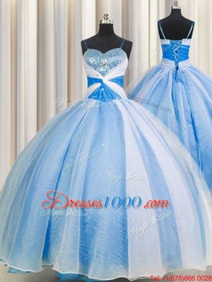 Stylish Baby Blue Ball Gowns Spaghetti Straps Sleeveless Chiffon Floor Length Lace Up Beading and Sequins and Ruching Quinceanera Dresses