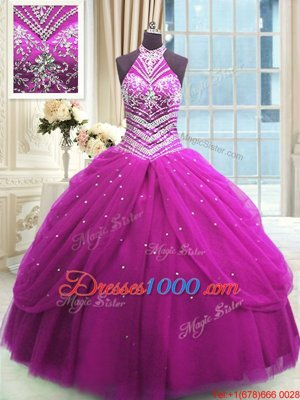 Tulle High-neck Sleeveless Lace Up Beading Sweet 16 Quinceanera Dress in Fuchsia
