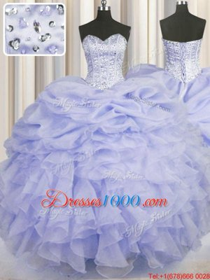Super Ball Gowns Vestidos de Quinceanera Lavender Sweetheart Organza Sleeveless Floor Length Lace Up