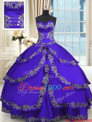 Taffeta Sweetheart Sleeveless Lace Up Beading and Appliques and Ruffled Layers Sweet 16 Dress in Blue