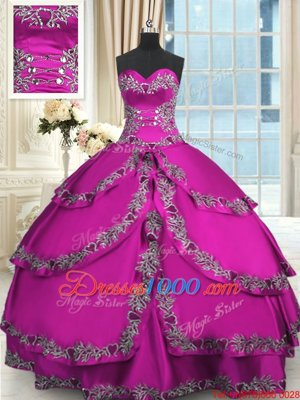 Fuchsia Taffeta Lace Up Sweetheart Sleeveless Floor Length 15th Birthday Dress Beading and Embroidery