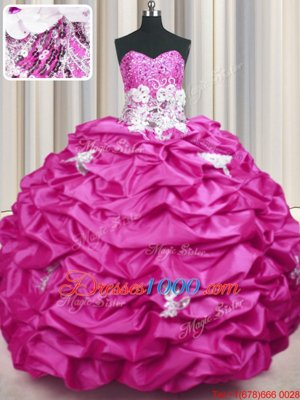 Beautiful Sequins Pick Ups Sweep Train Ball Gowns Ball Gown Prom Dress Fuchsia Sweetheart Taffeta Sleeveless With Train Lace Up