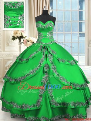 Low Price Green Sleeveless Beading and Embroidery and Ruffled Layers Floor Length Quinceanera Dresses