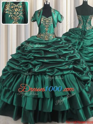 Peacock Green Ball Gowns Taffeta Sweetheart Sleeveless Beading and Appliques and Pick Ups With Train Lace Up Sweet 16 Quinceanera Dress Brush Train