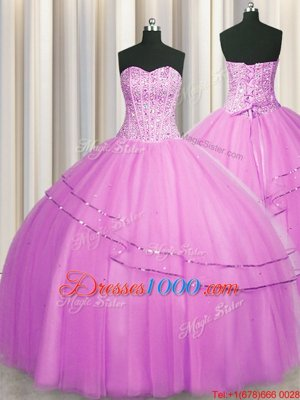Luxury Visible Boning Really Puffy Lilac Sleeveless Floor Length Beading Lace Up Quinceanera Dress