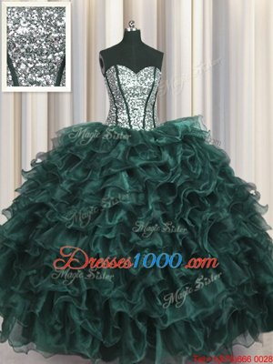 Visible Boning Peacock Green Quinceanera Gowns Military Ball and Sweet 16 and Quinceanera and For with Ruffles and Sequins Sweetheart Sleeveless Lace Up