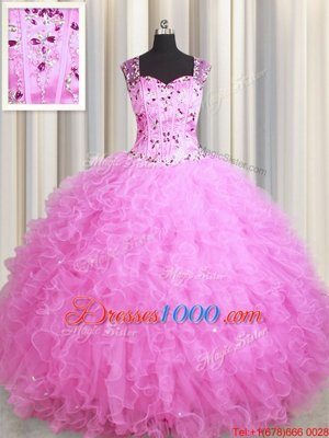 Beauteous See Through Zipper Up Sleeveless Tulle Floor Length Zipper Sweet 16 Dresses in Rose Pink for with Beading and Ruffles