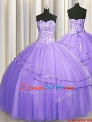 Fancy Visible Boning Big Puffy Sleeveless Tulle Floor Length Lace Up Quince Ball Gowns in Lavender for with Beading