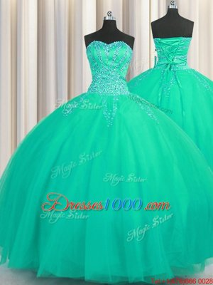 Luxurious Really Puffy Turquoise Sweetheart Lace Up Beading Quinceanera Dresses Sleeveless