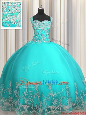 Decent Sleeveless Floor Length Beading and Appliques Lace Up Quinceanera Dresses with Purple