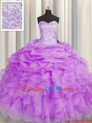 Super Lilac Organza Lace Up Sweetheart Sleeveless Floor Length 15 Quinceanera Dress Beading and Ruffles