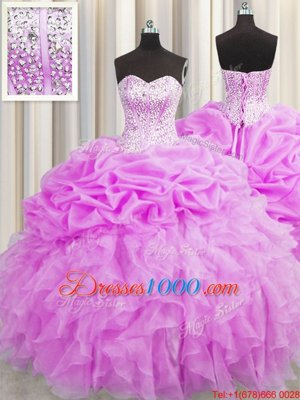 Visible Boning Lilac Sleeveless Floor Length Beading and Ruffles and Pick Ups Lace Up Quinceanera Dress