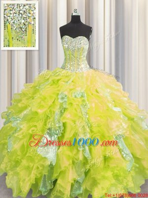 Visible Boning Sleeveless Floor Length Beading and Ruffles and Sequins Lace Up Sweet 16 Dress with Yellow