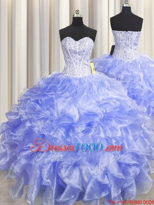Visible Boning Zipper Up Lavender Sleeveless Floor Length Beading and Ruffles Zipper Ball Gown Prom Dress