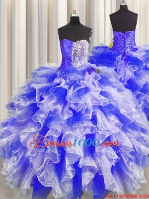 Sleeveless Lace Up Floor Length Beading and Ruffles and Ruching Sweet 16 Quinceanera Dress