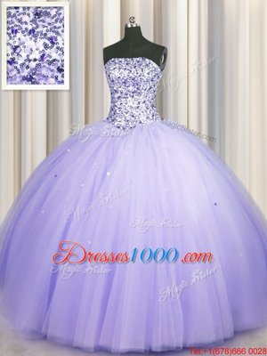 Classical Puffy Skirt Lavender Ball Gowns Strapless Sleeveless Tulle Floor Length Lace Up Beading and Sequins Vestidos de Quinceanera