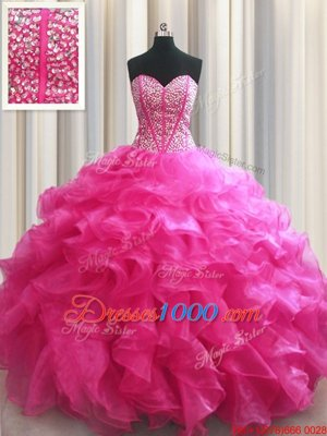 Vintage Visible Boning Hot Pink Sleeveless Floor Length Beading and Ruffles Lace Up 15th Birthday Dress