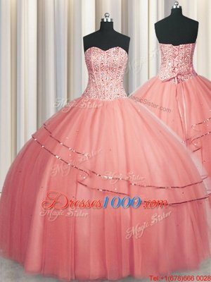 Pretty Visible Boning Puffy Skirt Watermelon Red Lace Up Sweetheart Beading Quinceanera Gown Tulle Sleeveless