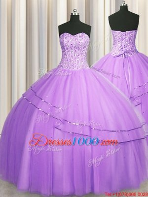 Visible Boning Puffy Skirt Tulle Sweetheart Sleeveless Lace Up Beading Quinceanera Gown in Lilac