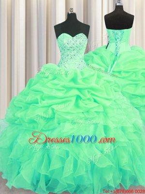 Nice Pick Ups Floor Length Green 15th Birthday Dress Sweetheart Sleeveless Lace Up