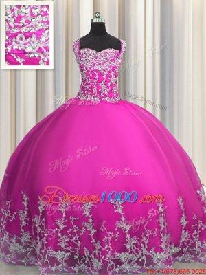 Fuchsia Sleeveless Beading and Appliques Floor Length Sweet 16 Dress