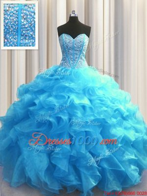 Visible Boning Baby Blue Organza Lace Up Sweetheart Sleeveless Floor Length Quinceanera Dresses Beading and Ruffles