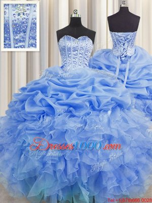 Pick Ups Visible Boning Ball Gowns Quinceanera Gowns Blue Sweetheart Organza Sleeveless Floor Length Lace Up