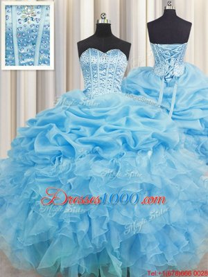 Romantic Embroidery Floor Length Blue Sweet 16 Quinceanera Dress Sweetheart Sleeveless Lace Up