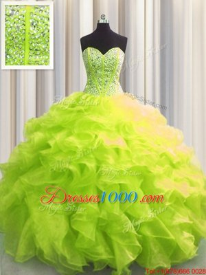 Graceful Visible Boning Organza Sleeveless Floor Length Quinceanera Gown and Beading and Ruffles