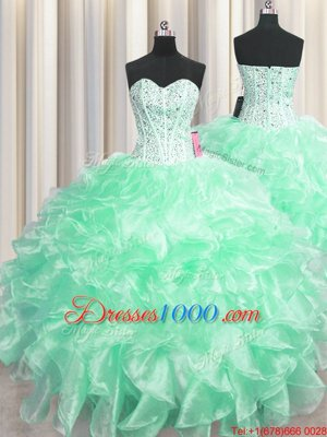 Organza Lace Up Sweet 16 Dresses Sleeveless Floor Length Beading and Ruffles