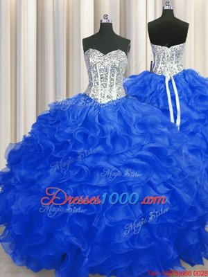 Organza Sweetheart Sleeveless Lace Up Beading and Ruffles 15 Quinceanera Dress in Royal Blue