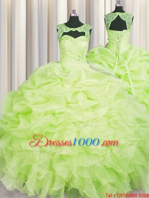 Excellent Scoop Beading and Pick Ups 15th Birthday Dress Yellow Green Lace Up Sleeveless Floor Length