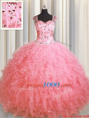 See Through Zipper Up Pink Organza Zipper Vestidos de Quinceanera Sleeveless Floor Length Beading and Ruffles